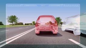 Tecnologia dell'automobile Allarme del vicolo della strada automobilistico illustrazione vettoriale