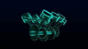 Tecnologia dell'automobile Animazione di immagine dei raggi x del pistone del motore 3d illustrazione di stock