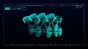 Tecnologia dell'automobile Vista superiore dei raggi x del pistone del motore royalty illustrazione gratis