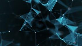 Tecnologia dell'estratto di fantasia del plesso Fondo geometrico astratto con le linee, i punti ed i triangoli commoventi illustrazione di stock