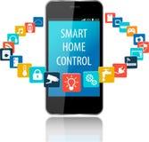 Tecnologia della casa intelligente e dello Smart Phone con la nuvola del ap variopinto illustrazione vettoriale