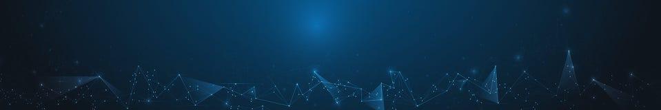Tecnologia della comunicazione della rete di progettazione di vettore su fondo blu scuro Digitale futuristico, concetto di tecnol Immagini Stock