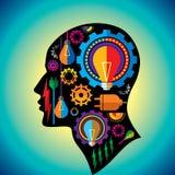 Tecnologia dentro da cabeça do homem Imagem de Stock
