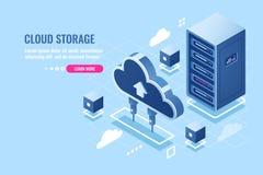 Tecnologia di archiviazione di dati della nuvola, dello scaffale della stanza del server, della base di dati e dell'icona isometr illustrazione di stock