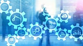 Tecnologia di automazione e concetto astuto di industria su fondo astratto vago Ingranaggi ed icone immagine stock libera da diritti