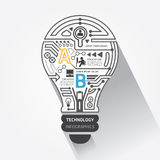 Tecnologia di circuito creativa dell'estratto della lampadina inf Immagini Stock