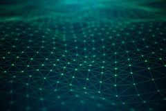 Tecnologia di dati, rete globale astratta Collegamento globale, punti della connessione di rete e linee su fondo blu illustrazione di stock