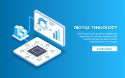 Tecnologia di Didgital Il concetto di elaborazione dei dati grandi con l'aiuto di tecnologia moderna Unità di elaborazione del se royalty illustrazione gratis