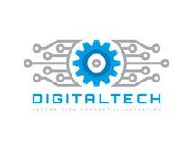 Tecnologia di Digital - vector l'illustrazione di concetto del modello di logo di affari Segno elettronico della fabbrica dell'in illustrazione vettoriale