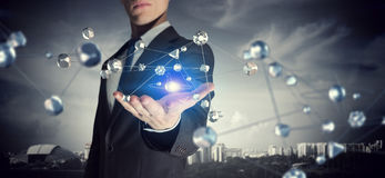 Tecnologia di futuro e della rete Media misti Fotografie Stock