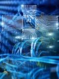 Tecnologia di futuro di intelligenza artificiale Concetto della rete di comunicazione Fondo moderno vago di centro dati illustrazione di stock