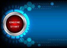 Tecnologia di inizio del motore del bottone di Abstrack Immagini Stock