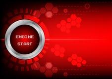 Tecnologia di inizio del motore del bottone di Abstrack su fondo rosso Immagine Stock