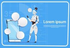 Tecnologia di intelligenza artificiale moderna di Media Communication della femmina del robot e del sociale della bolla di chiacc Immagine Stock Libera da Diritti
