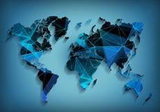 Tecnologia di rete globale della mappa di mondo Comunicazioni sociali Fotografie Stock