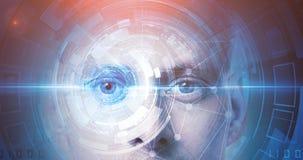 Tecnologia di riconoscimento di fronte dell'uomo immagini stock libere da diritti
