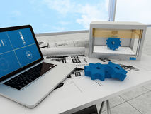 tecnologia di stampa 3d, ingranaggi di stampa Immagini Stock Libere da Diritti