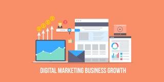 Tecnologia di vendita di Digital per il concetto di crescita del reddito di affari Insegna piana di vettore di progettazione royalty illustrazione gratis