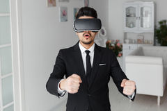 tecnologia di visione 3d, simulazione del video gioco Fotografie Stock