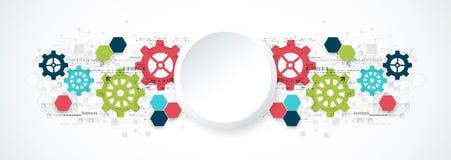 Tecnologia digital da olá!-tecnologia da roda denteada e fundo da engenharia ilustração do vetor
