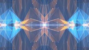 Tecnologia dinamica del poligono della stella di forma della rete della nuvola di animazione qualità brillante ARANCIO BLU simmet illustrazione vettoriale