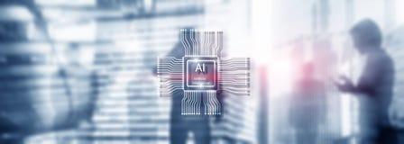 Tecnologia do futuro da intelig?ncia artificial Fundo azul abstrato borrado Cena urbana fotografia de stock
