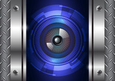 Tecnologia do globo ocular com fundo da porta do ferro ilustração do vetor