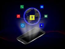 Tecnologia do holograma do telefone e uma comunicação espertas, conceito Backg Imagem de Stock