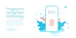 Tecnologia do reconhecimento da impressão digital na ilustração lisa do vetor Conceito de sistema da segurança da identificação d ilustração royalty free