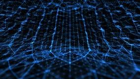 A tecnologia e a ciência abstratas curvaram o espaço com linhas azul da grade ilustração stock