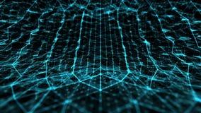 A tecnologia e a ciência abstratas curvaram o espaço com linhas turquesa da grade ilustração stock