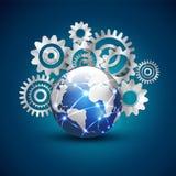 Tecnologia e comunicazione del mondo con il concetto, il vettore & l'illustrazione del fondo degli ingranaggi Immagini Stock