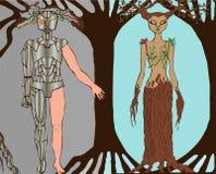 Tecnologia e la gente dell'illustrazione che uccidono natura Immagine Stock Libera da Diritti