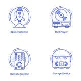 Tecnologia e linha grupo do hardware dos ícones ilustração royalty free