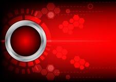 Tecnologia e luce rosse del bottone di Abstrack su fondo rosso Immagini Stock Libere da Diritti