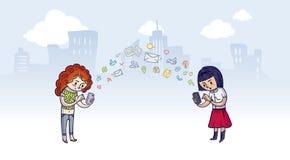 Tecnologia ed amicizia Immagine Stock Libera da Diritti