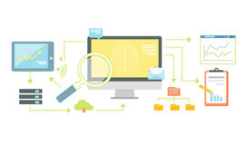 Tecnologia esperta para SEO Analytics Icon Flat ilustração stock
