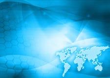 Tecnologia-estilo do mapa de mundo ilustração do vetor