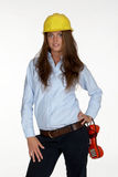 Tecnologia femminile in cappello duro Fotografia Stock Libera da Diritti