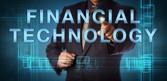 TECNOLOGIA FINANCEIRA de Points At do gerente incorporado fotografia de stock