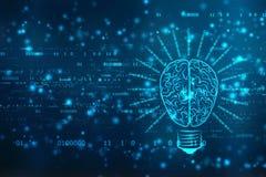 Tecnologia futura della lampadina con il cervello, fondo dell'innovazione, concetto di intelligenza artificiale royalty illustrazione gratis