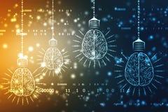 Tecnologia futura della lampadina con il cervello, fondo dell'innovazione, concetto di intelligenza artificiale fotografia stock libera da diritti