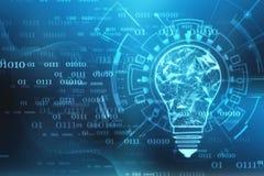 Tecnologia futura della lampadina, fondo dell'innovazione, concetto creativo di idea immagine stock libera da diritti