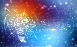 Tecnologia futura della lampadina, fondo dell'innovazione, concetto creativo di idea illustrazione vettoriale
