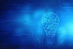 Tecnologia futura della lampadina, fondo dell'innovazione, concetto creativo di idea, concetto di pensiero immagini stock libere da diritti
