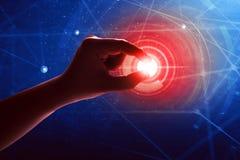 Tecnologia futura tocante da mão Imagem de Stock Royalty Free