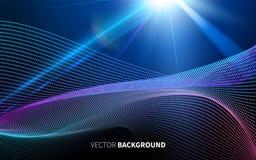 A tecnologia futurista abstrata com teste padrão linear dá forma à luz na obscuridade - fundo azul Imagem de Stock Royalty Free
