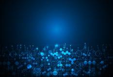 Tecnologia futurista abstrata, fundo azul da cor da placa de circuito Imagem de Stock