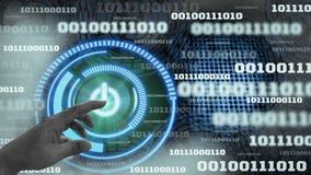 Tecnologia futurista do fundo do c?digo bin?rio de dados digitais da inova??o com interruptor do holograma do toque do dedo -fora imagens de stock royalty free