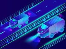 Tecnologia futuristica del veicolo autonomo, bus automobilistico sulla u illustrazione vettoriale